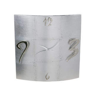 orologio da parete curvo foglia argento