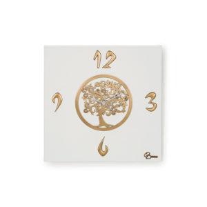 """Orologio quadrato """"L'Albero della Vita"""" finitura Bianco e oro."""