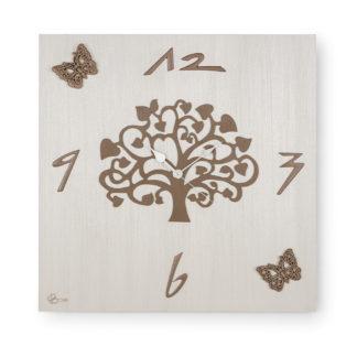 """Orologio quadrato """"L'Albero della Vita"""" con farfalle in ceramica, finitura Bianco e tortora."""
