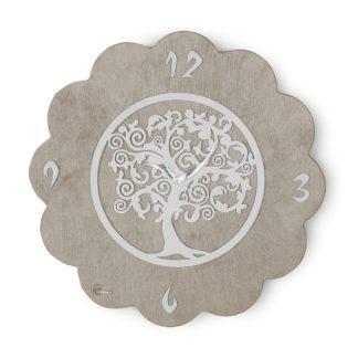 Orologio tondo L'Albero della Vita pantografato - Bianco e tortora