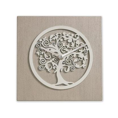Orologio da tavolo - Albero della vita tortora e bianco - bomboniera - 20x20cm