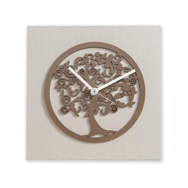 Orologio da tavolo - Albero della vita perla e tortora - 20x20cm