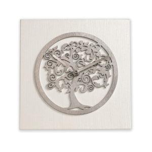 Orologio da tavolo - Albero della vita - Bianco e argento - Bomboniere