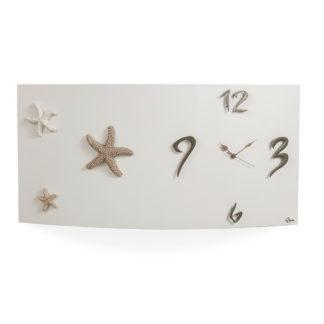 Orologio da parete orizzontale, versione bianco, applicazioni in ceramica stelle marine