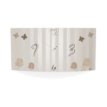 Orologio da parete orizzontale perla con applicazioni in ceramica alberi e farfalle