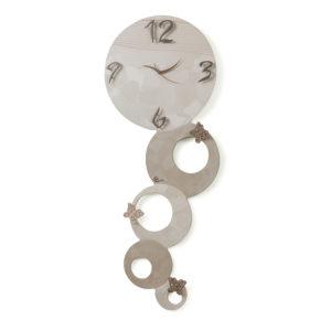 Orologio cerchi verticale spatolato - Perla e tortora - Collezione Panto