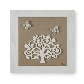Orologio quadro con applicazioni in ceramica - Alberi e farfalle - Tortora e perla