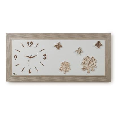Orologio quadro con applicazioni in ceramica - Tortora e perla - Collezione quadri