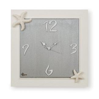 Orologio quadro con stelle marine ceramica di Grottaglie - Bianco e tortora